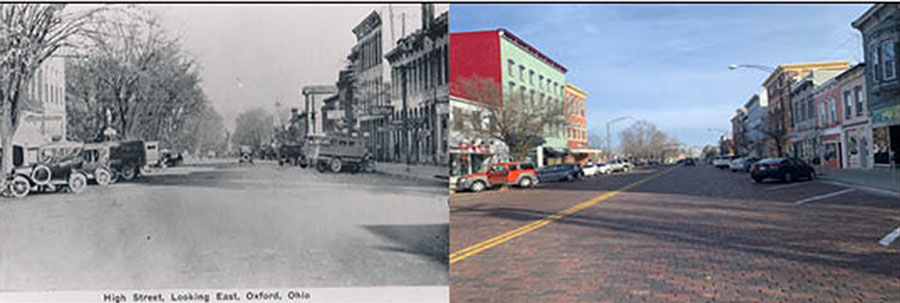 This was the view looking east down High Street in the early 1900s. Today the cars are newer and there are yellow lines down the middle of High Street, but the diagonal parking spots remain. Left photo provided by the Smith Library of Regional History and right photo by Mallory Hackett