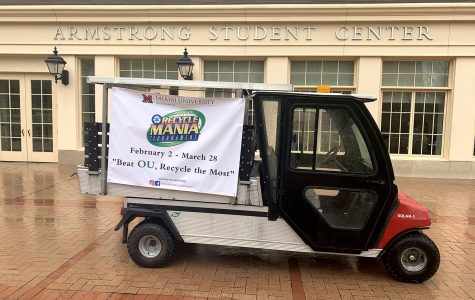 RecycleMania is advertised through a solar golf cart that is powered through a solar grid to have a low impact on the environment. <em>Photo by Emma Hendy</em>