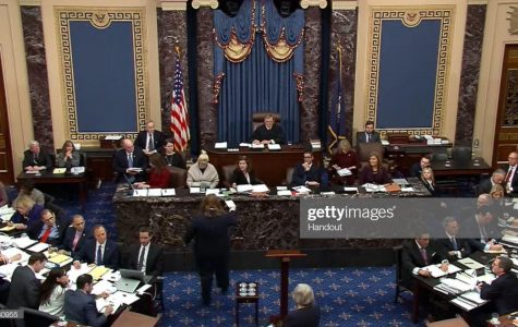 Chief Justice John Roberts presided over the impeachment trial of Donald Trump in the United States Senate, which ultimately acquitted the president. <em>Photo by Senate Television via Getty Images.</em>