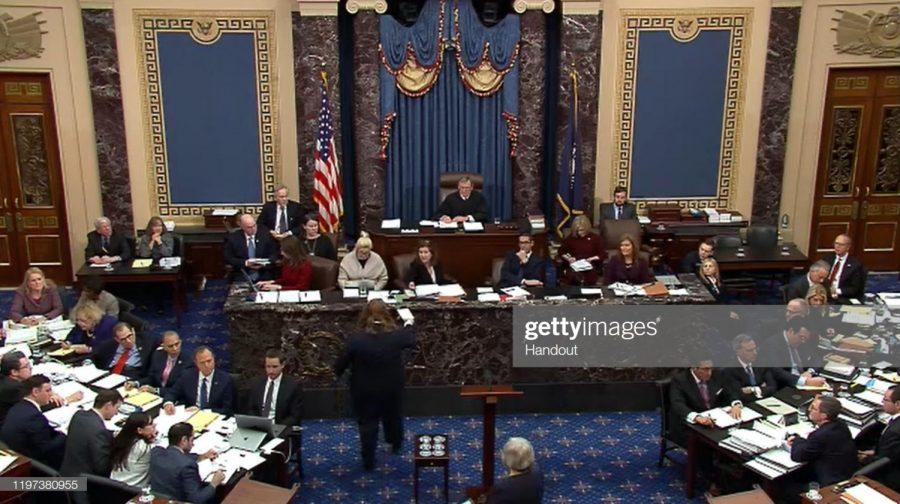 Chief Justice John Roberts presided over the impeachment trial of Donald Trump in the United States Senate, which ultimately acquitted the president. Photo by Senate Television via Getty Images.