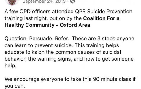 "A post from last fall from the Oxford Police Department Facebook page noting a suicide prevention training session officers attended and offering the advice of ""Question. Persuade. Refer."" when dealing with someone who may be suicidal. <em>Image fromOxford Police Department</em>"