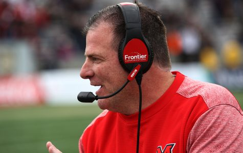 Chuck Martin, coaching the Miami RedHawks from the sideline, will be with the team for another five years, thanks to a contract extension. <em>Photo provided by Miami Athletics.</em>