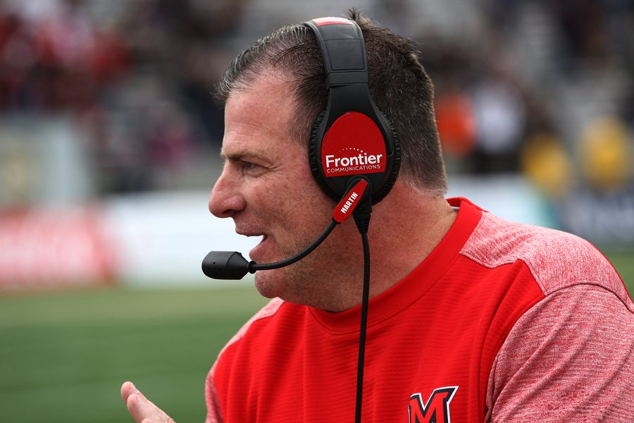 Chuck Martin, coaching the Miami RedHawks from the sideline, will be with the team for another five years, thanks to a contract extension. Photo provided by Miami Athletics.