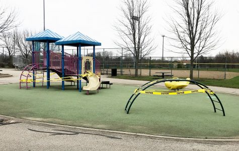<strong> </strong>Parks and walking paths remain open as of now, but playground areas such as this one in Oxford Community Park are closed and unused because of concerns over the virus. <em>Photo by Susan Coffin</em>.<br>