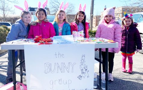 The Bunny Group raised \$185 for the Leukemia and Lymphoma Society at the Oxford Farmers Market March 7. From left to right: Luke Moore, Ziyi (Niuniu) Zhao, Annie Reynolds, Loren Krigel-Portich, Kora Smith and Coral Krigel-Portich.<em> Photo by Caroline Roethlisberger.</em><br><br>