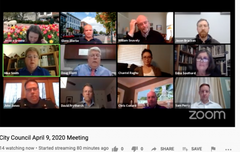 This computer screen shot shows Oxford officials connected Thursday on Zoom for their first virtual council meeting. Top row, left to right: Assistant City Manager Jessica Greene and Councilors Glen Ellerbe, William Snavely and Jason Bracken. Middle row, left to right: Mayor Mike Smith, City Manager Doug Elliott and Councilors Chantel Raghu and Edna Southard. Bottom row, left to right: Police Chief John Jones, Councilor David Prytherch, Law Director Chris Conard and Community Development Director Sam Perry. <em>Photo by Halie Barger. </em><br>