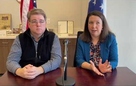 Mayor Mike Smith and Assistant City Manager Jessica Greene during an online video discussing the coronavirus in March. <em>Photo provided by the City of Oxford</em>.