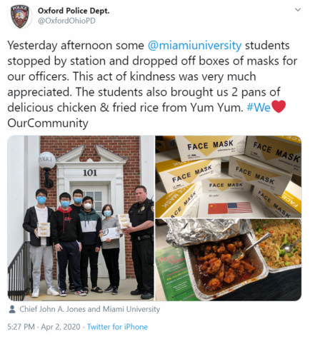 Oxford Police posted their thanks as well as some pictures about the Chinese students and parents who donated masks to the department on the department's Facebook page. The pictures show Police Chief John Johns accepting the masks from a group of students, as well as the boxes of masks and trays of food the students gave to police.