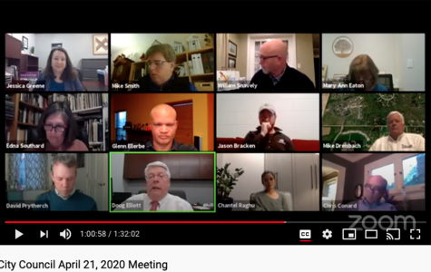 Members of Oxford City Council and the city administration met virtually on April, 21. Top row, left to right: Assistant City Manager Jessica Greene, Mayor Mike Smith, Councilor William Snavely, Council Clerk Mary Ann Eaton. Middle row, left to right: Councilor Edna Southard, Councilor Glenn Ellerbe, Councilor Jason Bracken, Service Director Michael Dreisbach. Bottom Row, left to right: Councilor David Prytherch, City Manager Doug Elliott, Councilor Chantel Raghu, Law Director Chris Conard.