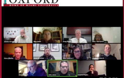 Oxford City Council conducted a virtual meeting from remote locations on Tuesday, May 5. Top row, left to right: Councilor William Snavely, Mayor Mike Smith, City Manager Doug Elliott, Clerk Mary Ann Eaton. Second row, left to right: Councilors Glenn Ellerbe, Jason Bracken, Edna Southard and David Prytherch. Bottom row, left to right: Law Director Chris Conard, Police Chief John Jones and Councilor Chantel Raghu.<br>