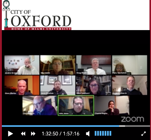 Oxford City Council conducted a virtual meeting from remote locations on Tuesday, May 5. Top row, left to right: Councilor William Snavely, Mayor Mike Smith, City Manager Doug Elliott, Clerk Mary Ann Eaton. Second row, left to right: Councilors Glenn Ellerbe, Jason Bracken, Edna Southard and David Prytherch. Bottom row, left to right: Law Director Chris Conard, Police Chief John Jones and Councilor Chantel Raghu.