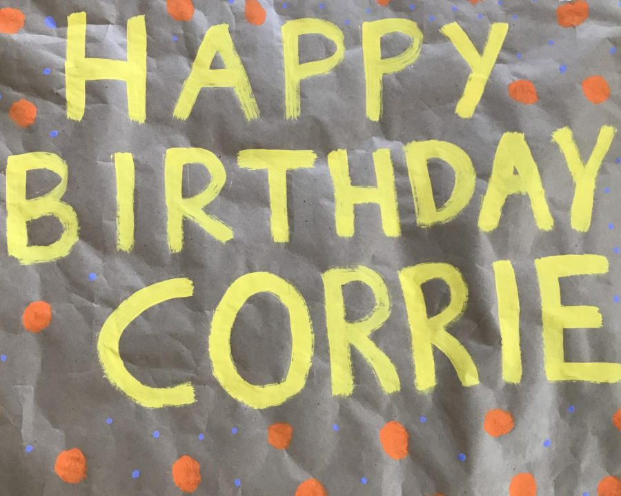 Neighbors+surprised+Corrie+Branche+on+her+birthday+with+banners+and+a+parade+outside+of+her+house.+Photo+by+Logan+Branche