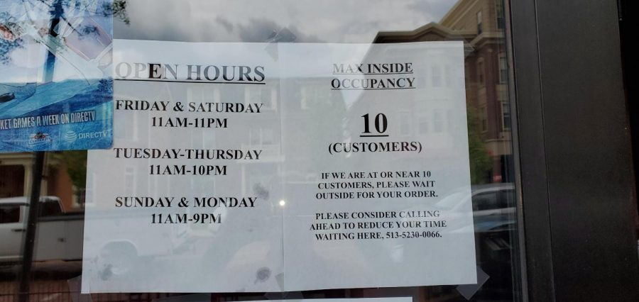 New hours are posted in the window of Skippers Pub & Top Deck. Photo provided by Skippers