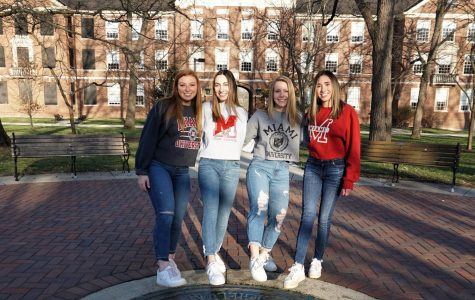 Four Miami roommates, whose senior year was cut short, pose for one last picture on the Miami seal. From left, Megan Remaley, Megan King, Sydney Shadovitz and Melissa Eterno. <em>Photo provided by Megan Remaley</em>