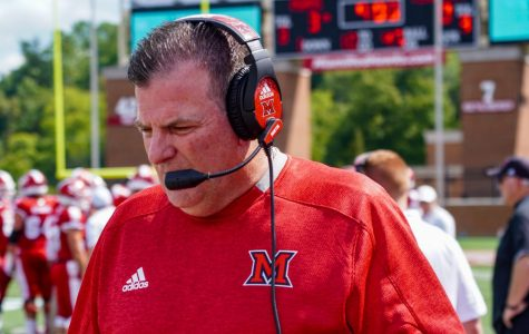 Miami Football Coach Chuck Martin writes on Twitter that he's learned the most by having conversations with his players and coaches. <em>Photo provided by Logan Stevens</em>