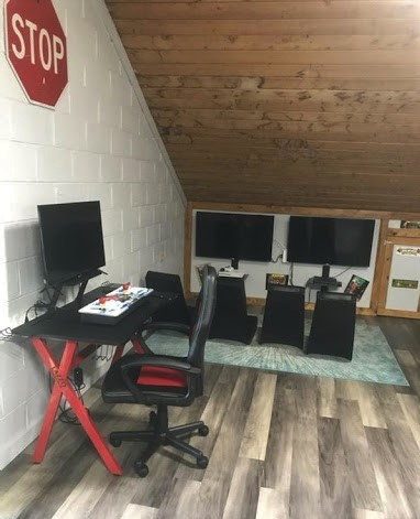 Computers, videogames and study tables are part of the remodeled teen center. Photo by Emily Gentry