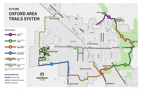 A map of the Oxford Area Trail System show what is completed and what is not. <em>Photo provided by Jessica Greene</em>