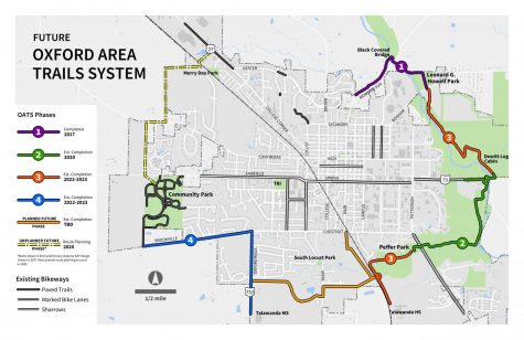 A map of the Oxford Area Trail System show what is completed and what is not. Photo provided by Jessica Greene