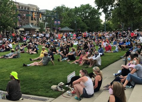 Hundreds of members of the Oxford community gather in Uptown Park on June 8 for a community vigil against racial injustice and police violence. Photo by Susan Coffin