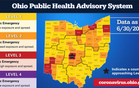 The state of Ohio's first public health advisory system map.<em> Provided by Ohio Gov. Mike DeWine</em>