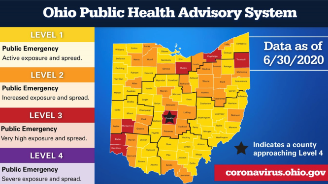 The state of Ohio's first public health advisory system map. Provided by Ohio Gov. Mike DeWine