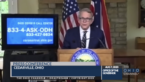 Gov. Mike DeWine speaks at a news conference Aug. 7 from his Cedarville home.