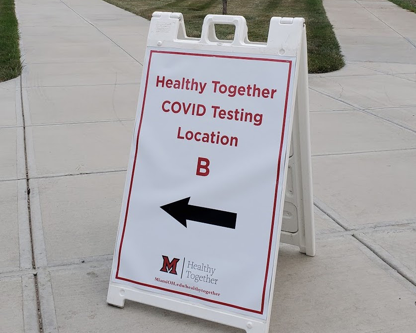 Sign+in+front+of+new+university+COVID+testing+center