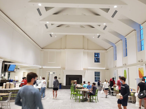 Garden Commons dining hall set up for social distancing