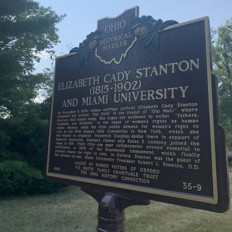 "Suffragette Elizabeth Cady Stanton stayed in this house, home of her brother-in-law, when she came to Oxford to give her ""Our Girls"" speech in 1870."