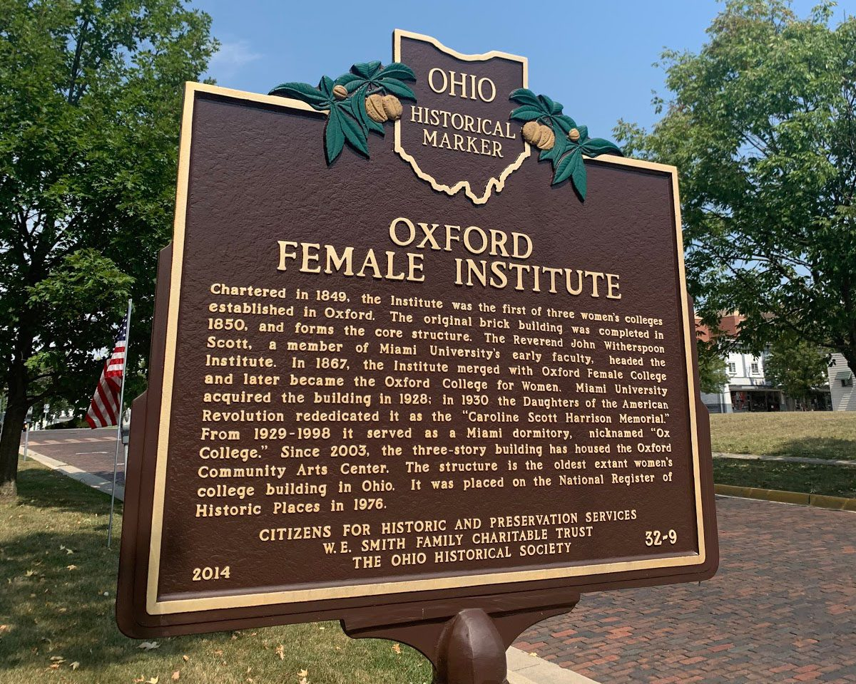 Historical marker commemorating the Oxford Female Institute, now the Oxford Community Arts Center