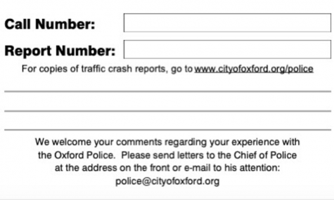 Card given out by OPD with citations and accident reports