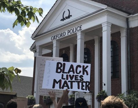 A sign from the protest held in early June in Oxford.  Black Lives Matter plans a protest at Miami at 4 p.m. today.