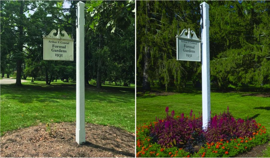 The Formal Gardens  were designed by and named for Arthur Conrad. Even the sign post was supposed to rise out of the blooms.