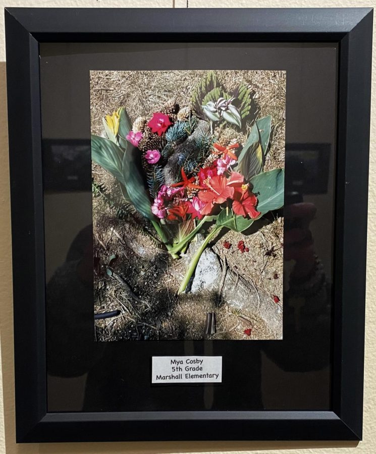 This photo of a bouquet Mya Cosby, a fifth grade student, is one of 15 pictures in an exhibition by Marshall Elementary School students on display at the Oxford Community Arts Center.
