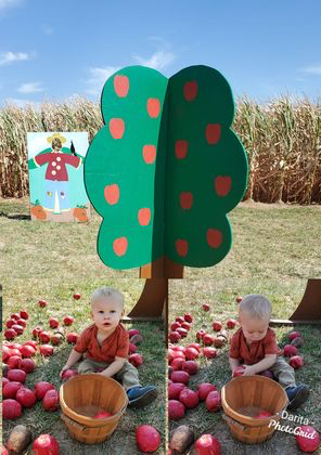 Darita Waggoner Hall and kids enjoy apple picking at Wendel's farm