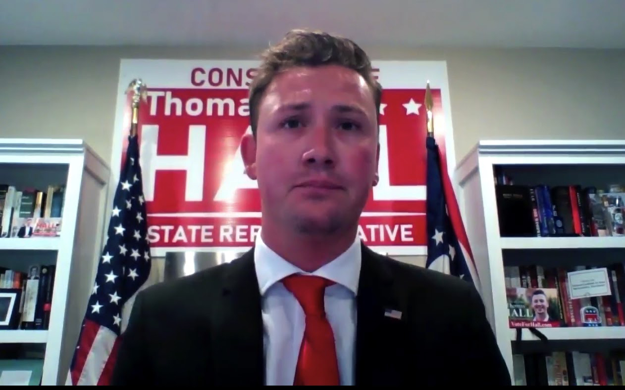 Republican candidate Thomas Hall at Tuesday's virtual debate