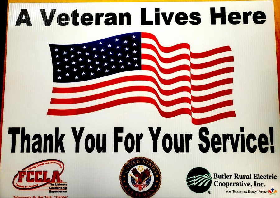 Signs like these honor local veterans ahead of Veterans Day, Nov. 11.
