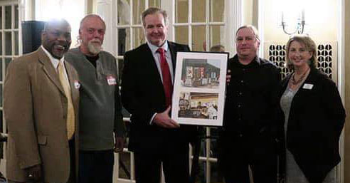 Left Field Tavern, pictured receiving their award, was one of last year's Business of the Year winners.