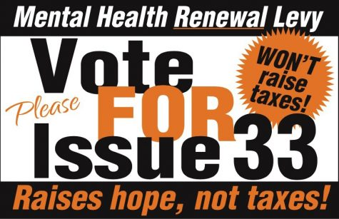 Issue 33, the mental health levy renewal, passes with 72.68 percent of the vote.