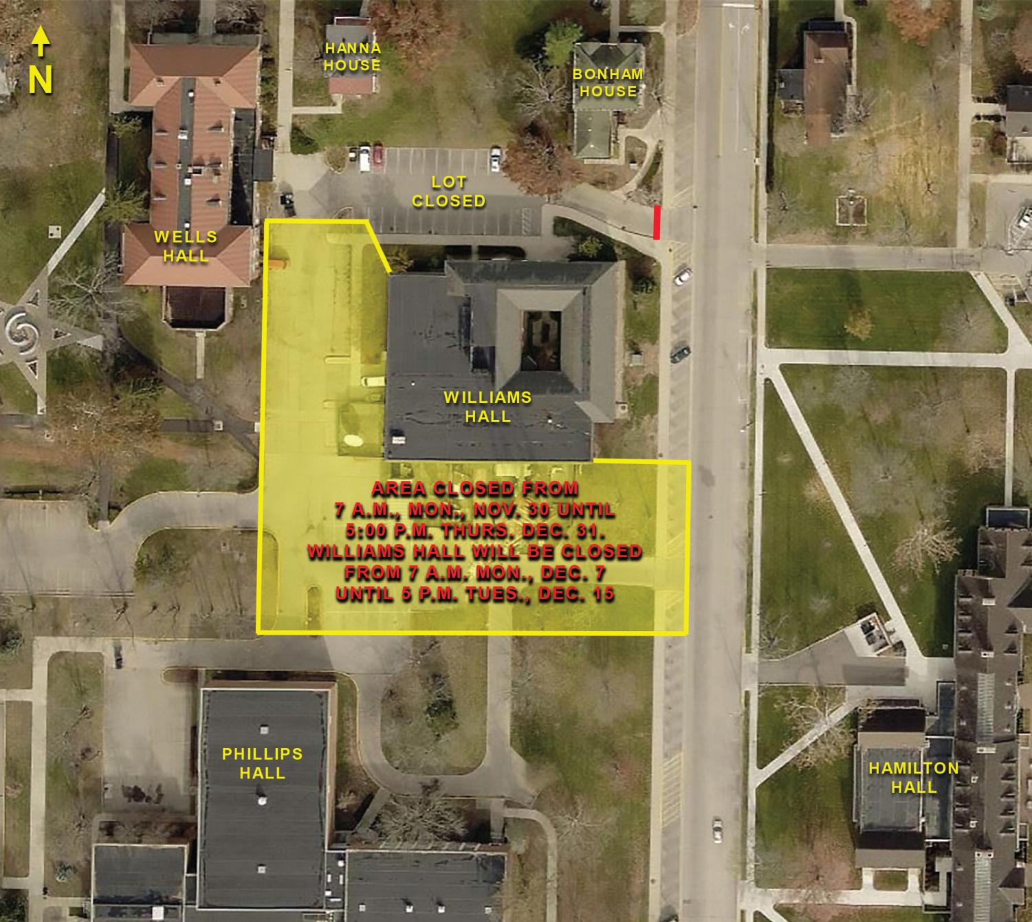 The radio tower stands a few feet south of Willams Hall. This map shows the size of the deconstruction site.