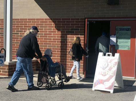 Oxford voters enter the polling place at Kramer Elementary School on Tuesday morning.