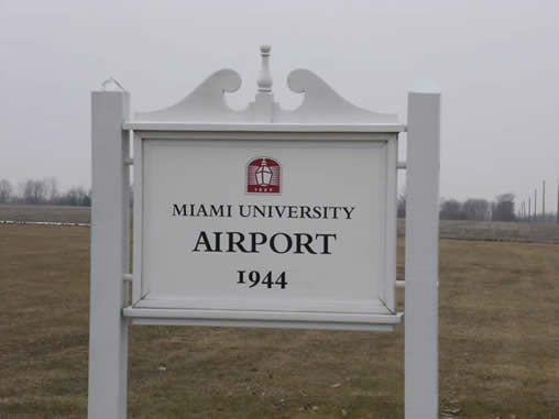 The Miami University Airport is on Fairfield Road, about two miles west of Oxford.