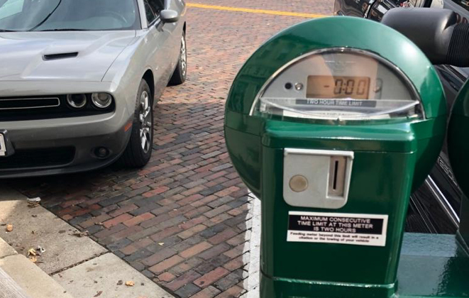 Parking meter located in uptown Oxford.