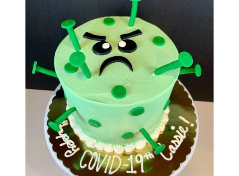 A spikey replica of the COVID-19 virus is one of the custom designs at Luke's Custom Cakes and Cupcakes.