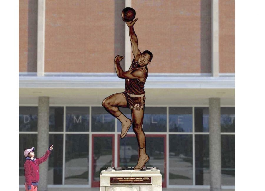 An artist's rendition of what the Wayne Embry statue will look like when it is unveiled in front of Millett Hall.