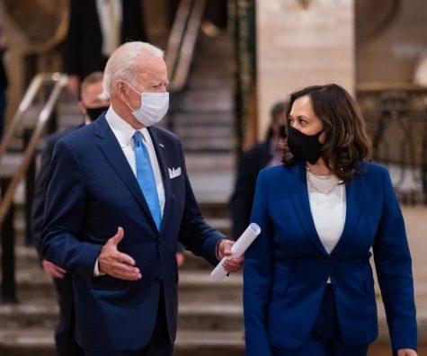 President Joe Biden and Vice President Kamala Harris outside the Capitol on Inauguration Day.