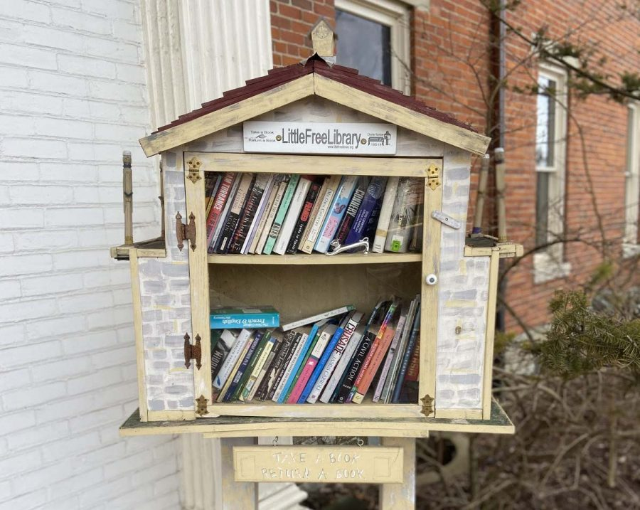This Little Free Library sits near the front door of the Oxford Community Arts Center