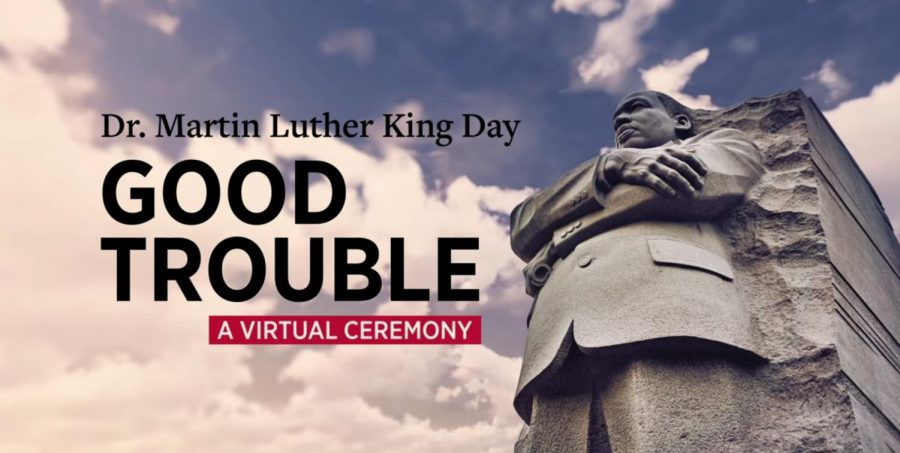 "The opening shot of the ""Good Trouble"" video hosted by the Oxford NAACP chapter in celebration of Martin Luther King Jr. Day on Jan. 18."