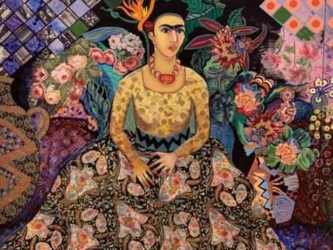 """A portrait of artist Frida Kahlo is included in the """"Confronting Greatness,"""" exhibit, celebrating women artists.  Photo by Bubba Harris"""