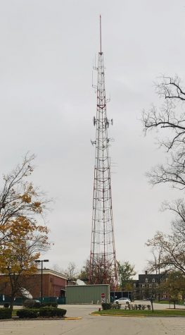 The Williams Hall Transmission Tower, a local landmark for 60 years, was 342 feet high, including the antenna on top. It was the first Miami University structure visitors could spot as they approached the campus from the south.
